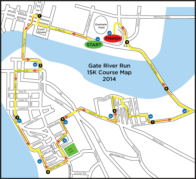 Gate River Run course map 2014